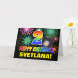 [ Thumbnail: 2nd Birthday: Bold, Fun, Fireworks, Rainbow 2 Card ]
