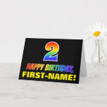 [ Thumbnail: 2nd Birthday: Bold, Fun, Simple, Rainbow 2 Card ]