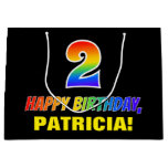 [ Thumbnail: 2nd Birthday: Bold, Fun, Simple, Rainbow 2 Gift Bag ]