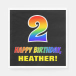 [ Thumbnail: 2nd Birthday: Bold, Fun, Simple, Rainbow 2 Napkins ]
