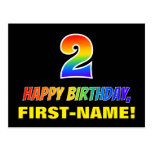 [ Thumbnail: 2nd Birthday: Bold, Fun, Simple, Rainbow 2 Postcard ]