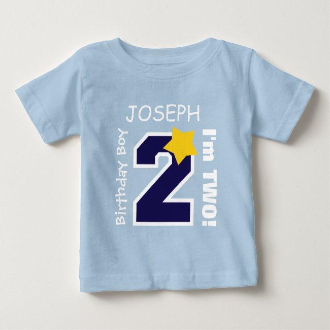 2nd Birthday Boy BLUE One Year Custom Name A01A Baby T-Shirt