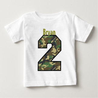2nd Birthday Boy Camo Two Year Custom Name V007B Baby T-Shirt