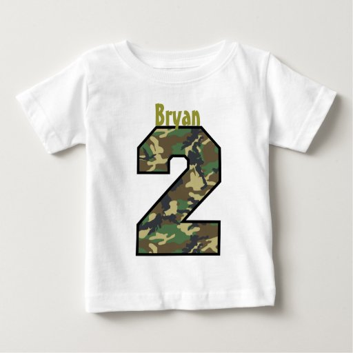 2nd Birthday Boy Camo Two Year Custom Name V007b Shirt