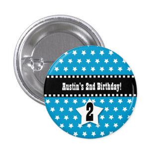 2nd Birthday Boy Stars Dashed Ribbon V02 Pinback Button