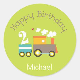 2nd Birthday Boy Train Cupcake Topper/Stickers Classic Round Sticker