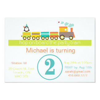 2nd Birthday Boy Train Invitation