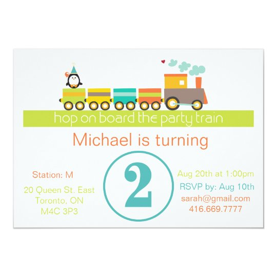 2nd Birthday Boy Train Invitation