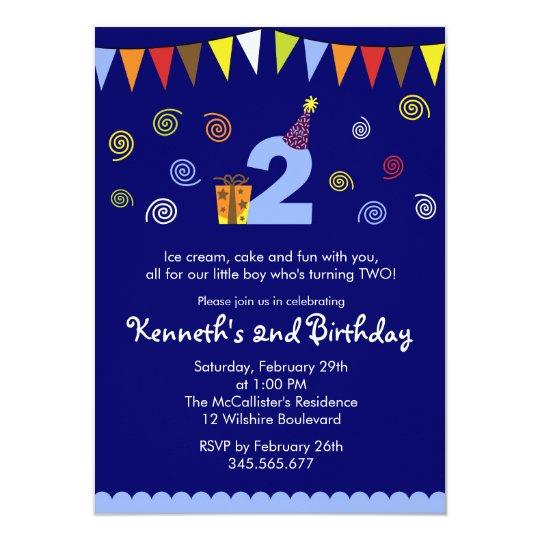 2nd Birthday Boy's Cute Party Invitation