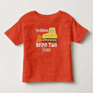 2nd Birthday Bulldozer Construction T Shirt