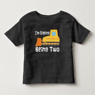 2nd Birthday Bulldozer Construction Truck Toddler Toddler T-shirt