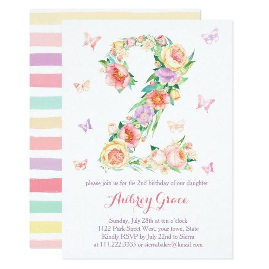 2nd Birthday Butterfly Garden Party Invite Cards