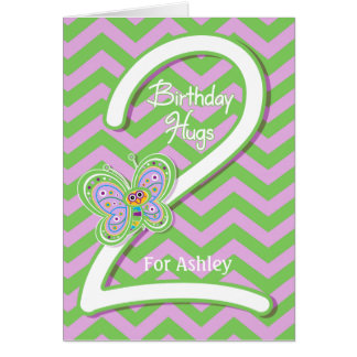 2nd Birthday Butterfly Hugs Custom Greeting Card