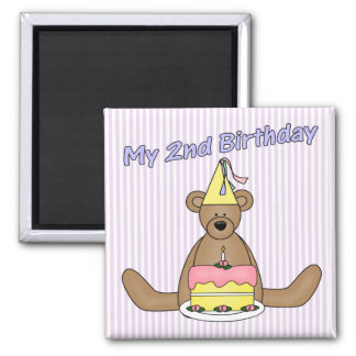 2nd Birthday Cake and Bear 2 Inch Square Magnet