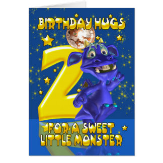 2nd Birthday Card With Cute Blue Monster - Moonies