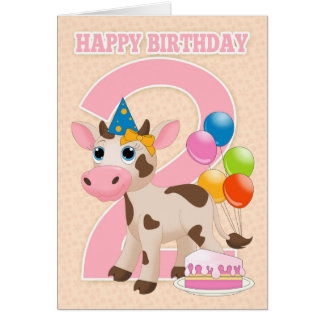 2nd Birthday Card With Little Cow Cake And Balloon