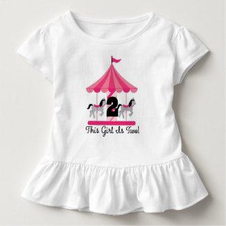2nd Birthday Carousel Girls Ruffled Tee Shirt