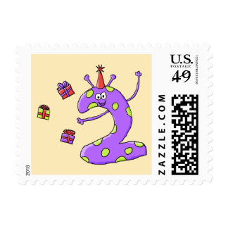 2nd Birthday Cartoon in Purple. Postage Stamps