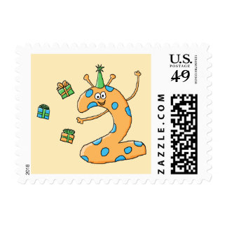 2nd Birthday Cartoon - Orange Stamp
