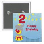 2nd Birthday Circus Elephant Button