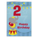2nd Birthday Circus Elephant Card