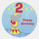 2nd Birthday Circus Elephant Round Stickers