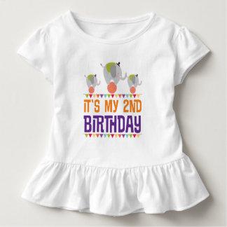 2nd Birthday Circus Elephant Ruffled T-shirt