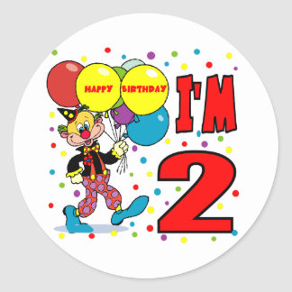 2nd Birthday Clown Birthday Classic Round Sticker