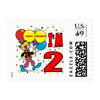 2nd Birthday Clown Birthday Postage Stamp