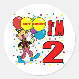 2nd Birthday Clown Birthday Round Stickers