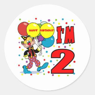 2nd Birthday Clown Birthday Round Sticker