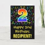 [ Thumbnail: 2nd Birthday: Colorful Music Symbols + Rainbow 2 Card ]
