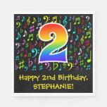 [ Thumbnail: 2nd Birthday - Colorful Music Symbols, Rainbow 2 Napkins ]