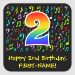 [ Thumbnail: 2nd Birthday: Colorful Music Symbols, Rainbow 2 Sticker ]