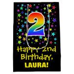 [ Thumbnail: 2nd Birthday: Colorful Stars Pattern & Rainbow 2 Gift Bag ]