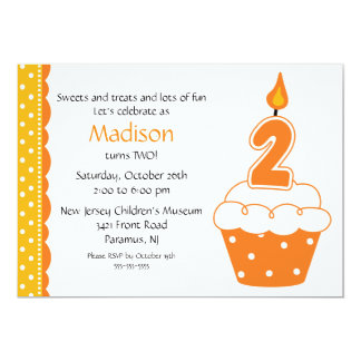 2nd Birthday Cupcake Invitation
