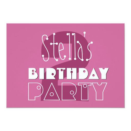 2nd Birthday Custom Name Modern Girls Pink Invite