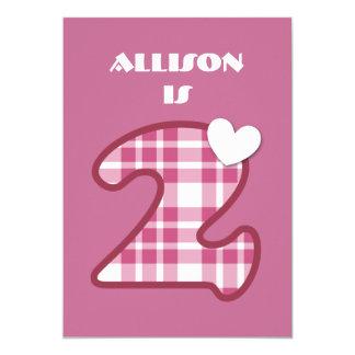 2nd Birthday Custom Name PINK Plaid A004 5x7 Paper Invitation Card