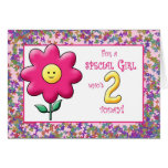 2nd Birthday Cute Pink Flower and Smiley Cards