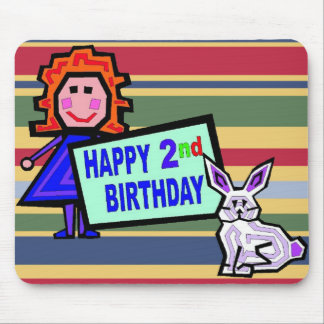 2nd Birthday Doll and Bunny Mouse Pad