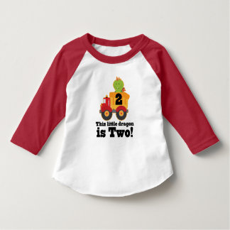 2nd Birthday Dragon Dump Truck 2 Year Old Tshirt