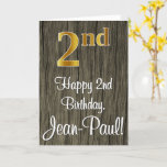 [ Thumbnail: 2nd Birthday: Elegant Faux Gold Look #, Faux Wood Card ]