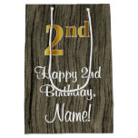 [ Thumbnail: 2nd Birthday: Elegant Faux Gold Look #, Faux Wood Gift Bag ]