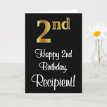 [ Thumbnail: 2nd Birthday ~ Elegant Luxurious Faux Gold Look # Card ]