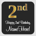 [ Thumbnail: 2nd Birthday – Elegant Luxurious Faux Gold Look # Sticker ]