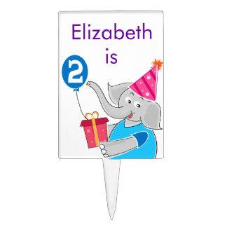 2nd Birthday Elephant Cake Topper
