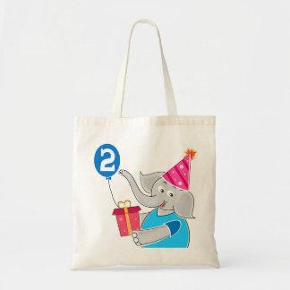 2nd Birthday Elephant Canvas Bag