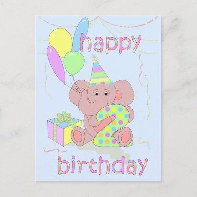 2nd Birthday Elephant Card for Boys Postcards from Zazz