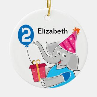 2nd Birthday Elephant Ceramic Ornament