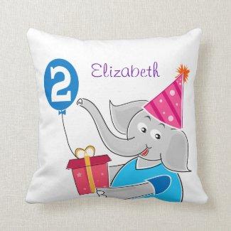 2nd Birthday Elephant Throw Pillow